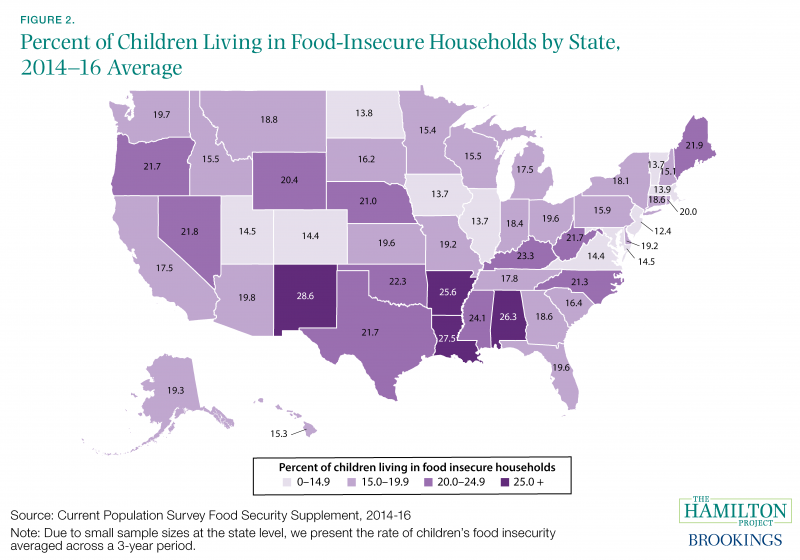 Figure 2. Percent of Children Living in Food-Insecure Households by State, 2014–16 Average