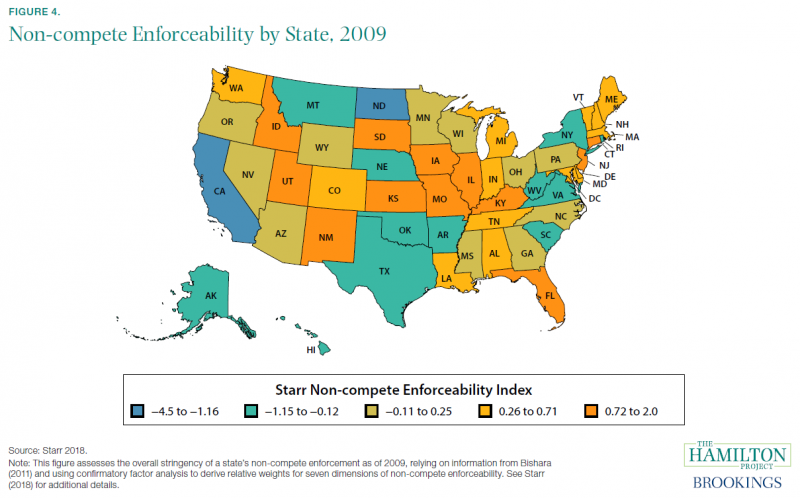 Non-compete Enforceability by State, 2009